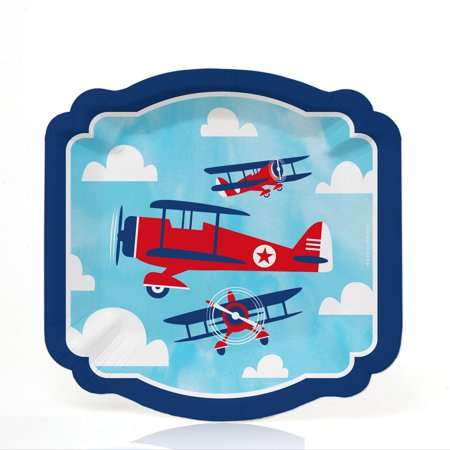 - Taking Flight - Airplane - Vintage Plane Baby Shower or Birthday Party Dessert Plates (16 Count)
