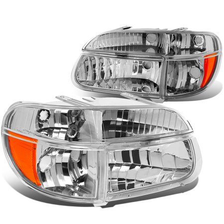 For 95-01 Ford Explorer/Mountaineer Pair of Chrome Housing Headlights & Amber Corner Lights 96 97 98 99 00 (Mercury Mountaineer Headlight Headlamp)