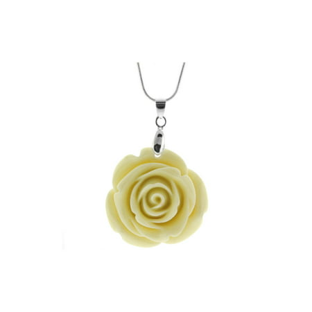 35mm Simulated Beige Coral Carved Rose Flower Pendant With 16