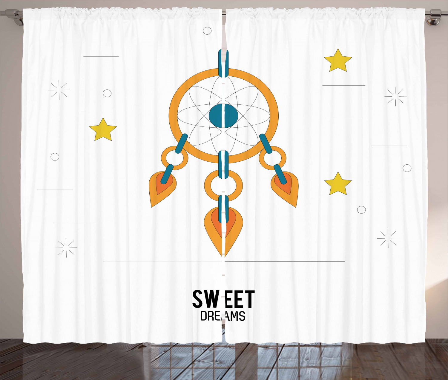 Sweet Dreams Curtains 2 Panels Set, Dream Catcher Design