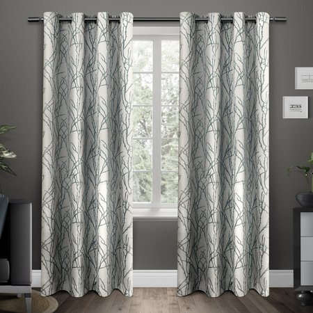 "Branches Linen Blend Grommet Top Window Curtain Panel Pair Teal (54 X 96"") - Exclusive Home"