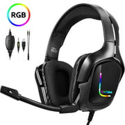 Gaming Headset for PS4 Xbox one Nintendo Switch, ONIKUMA Gaming Headphones with Noise Cancelling Microphone, Bass Surround Sound Over Ear Wired Headset LED Lights