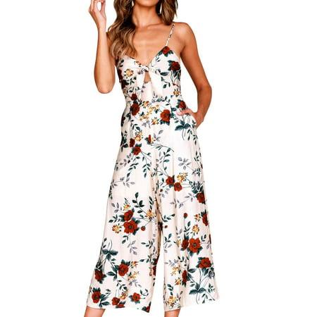 STARVNC Women V Neck Front Knot Zip Back Backless Pocket Floral - Zip Jumpsuit
