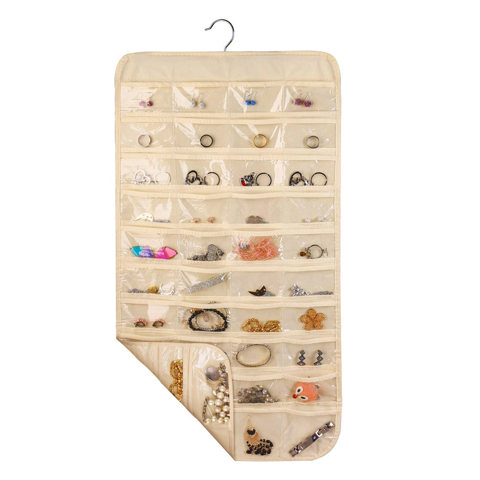 Household Double Sided 80 Pockets Hanging Jewelry Organizer Super