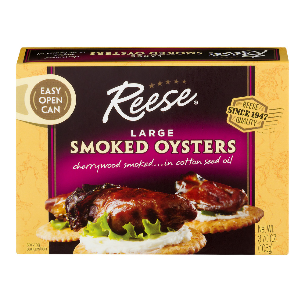 Reese Smoked Oysters Large, 3.7 OZ by World Finer Foods, Inc.