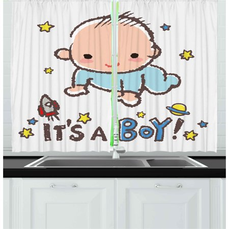 Gender Reveal Curtains 2 Panels Set, Little Baby Boy Smiling with Stars Rocket Space Kids Artistic Cartoon Style, Window Drapes for Living Room Bedroom, 55W X 39L Inches, Multicolor, by