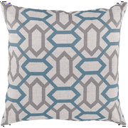 "18"" Winter Cloud Gray and Independence Blue Geometric Gems Decorative Throw Pillow"