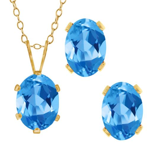 3.10 Ct Oval Swiss Blue Topaz Gold Plated Silver Pendant Earrings Set