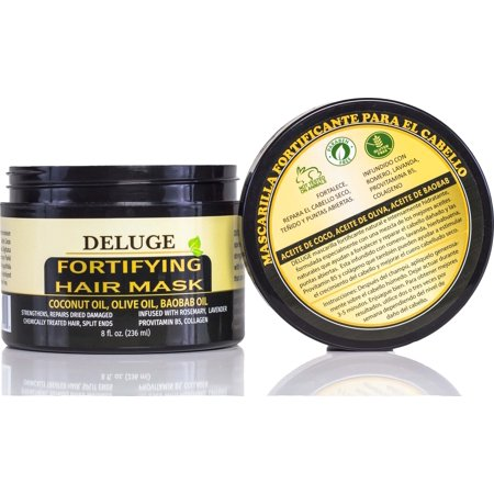 DELUGE - Fortifying Hair Mask with Baobab Oil, Coconut Oil and Olive Oil, Restores, Repairs and Nourishes Dry Damaged Hair- Collagen + ProVitamin B5 -Net Wt. 8 oz (Hair Net Mask)