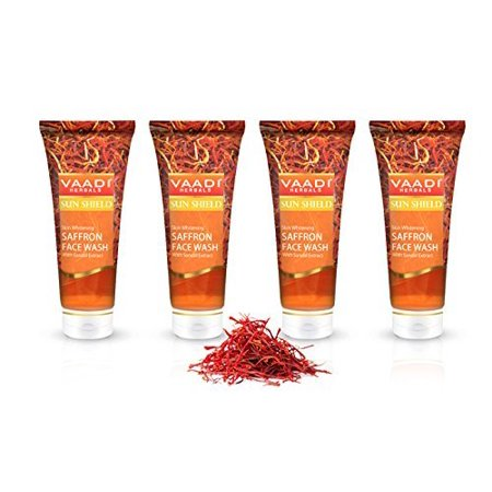 Vaadi Herbals Value Pack of Skin Whitening Saffron Face Wash with Sandal Extract, 4 x 60ml