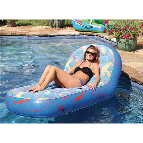 """Margaritaville Oversized Single Lounger with Comfort Top and Drink Holder, 72"""" L x 39"""" W (Water Activated Graphics)"""
