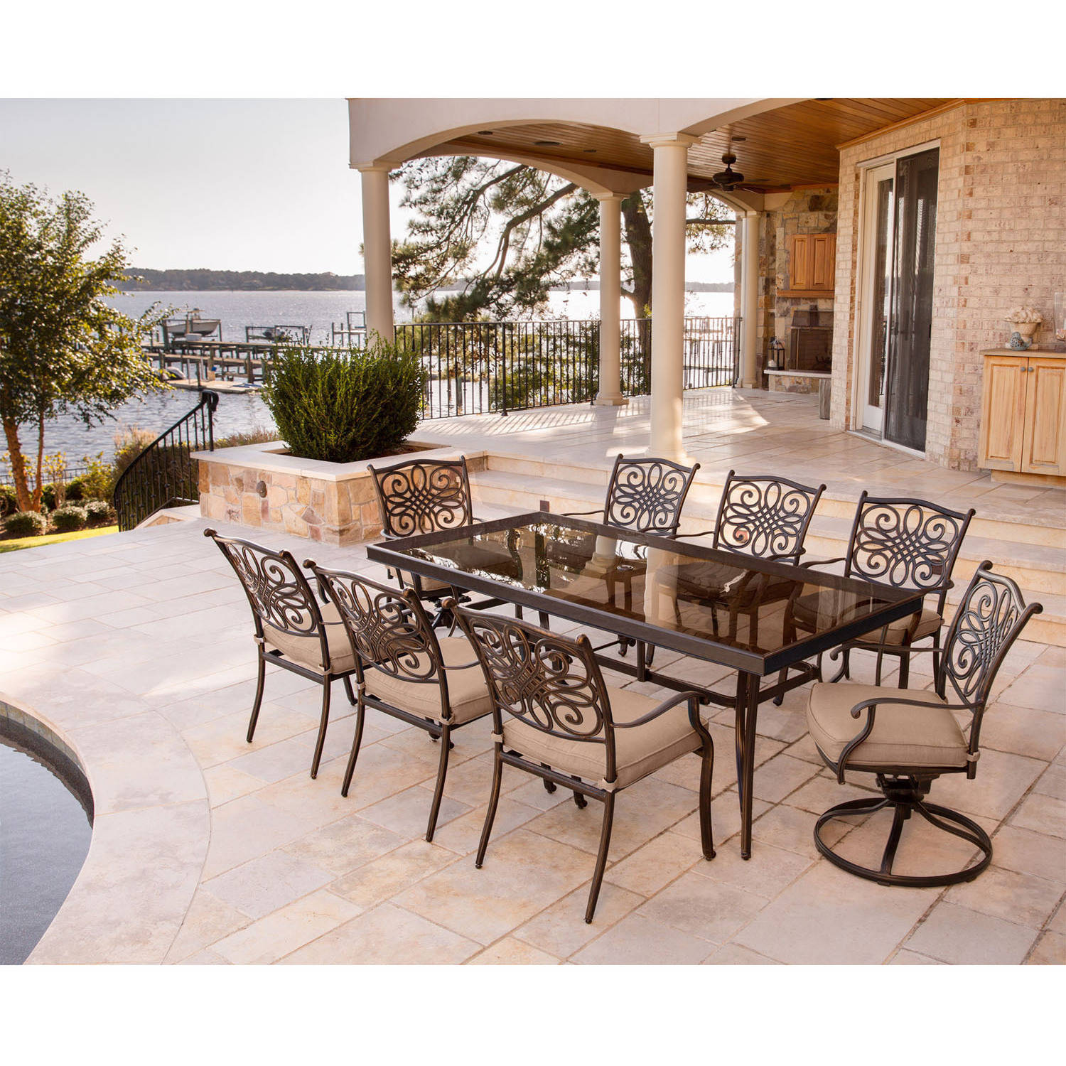 """Hanover Outdoor Traditions 9-Piece Dining Set with 42"""" x 84"""" Glass-Top Table, 6 Stationary Chairs and 2 Swivel Rockers"""