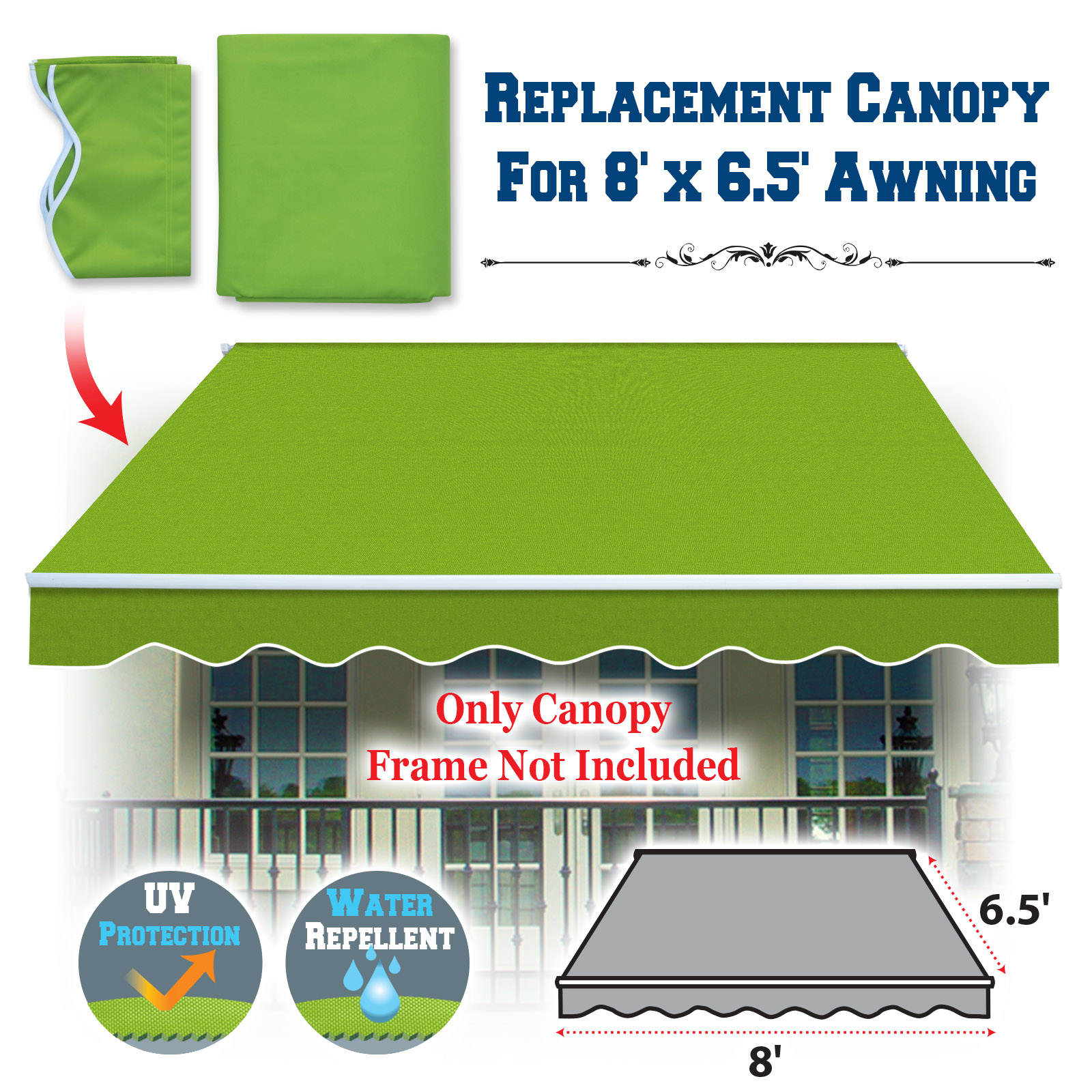 Sunrise Outdoor 8' x 6.4' Replacement Canopy for Manual Yard Retractable Patio Deck Awning Sunshade (Cover Only, Frame is not Included)-Coffee