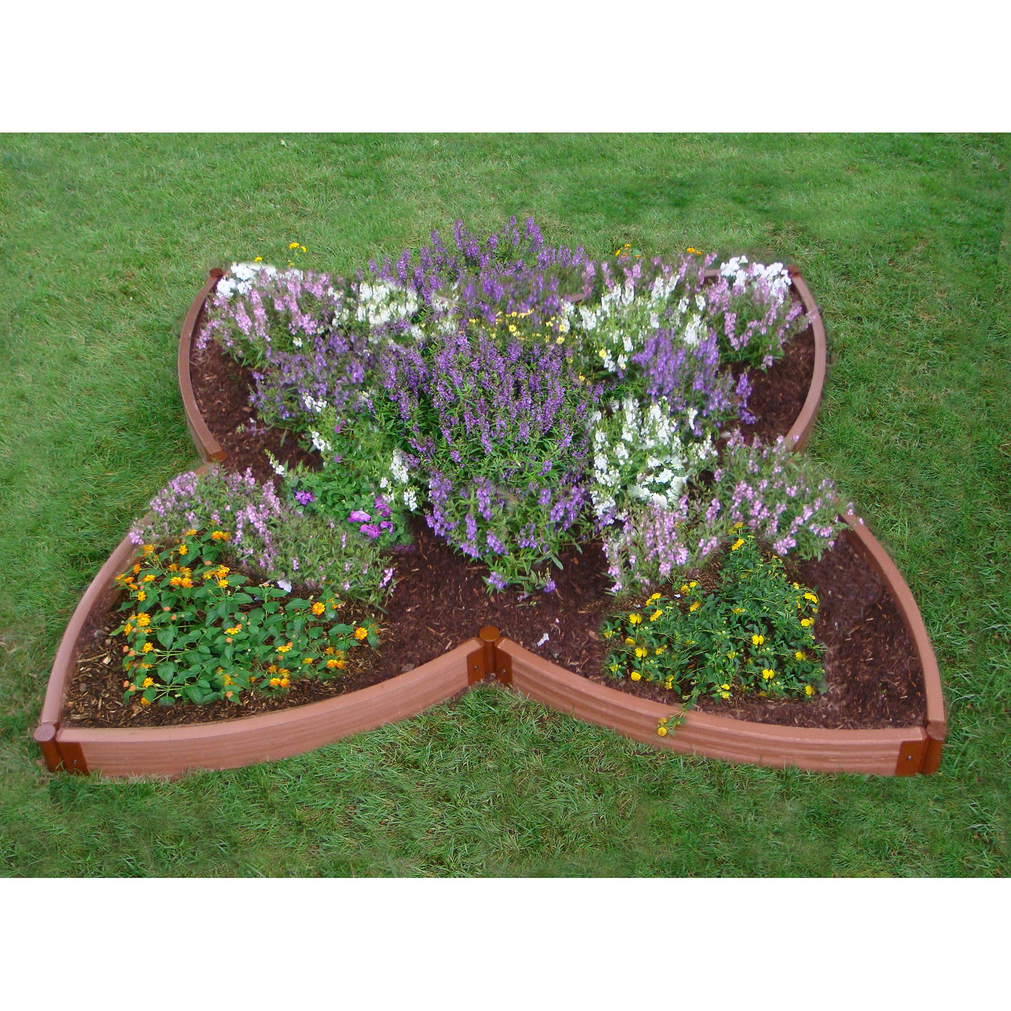 "Frame It All Two Inch Series 120"" x 120"" x 5.5"" Composite 4-Leaf Clover Raised Garden Bed"