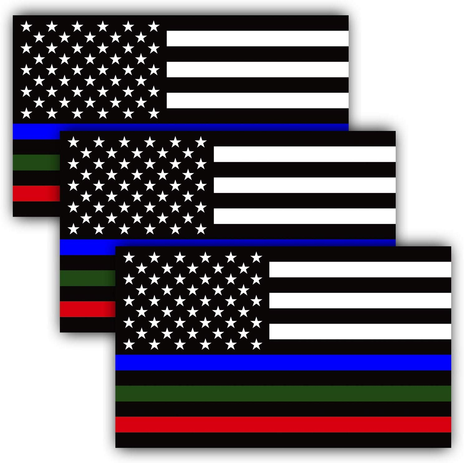 Anley 5 X 3 Inch Thin Line Us Flag Decal Blue Green And Red