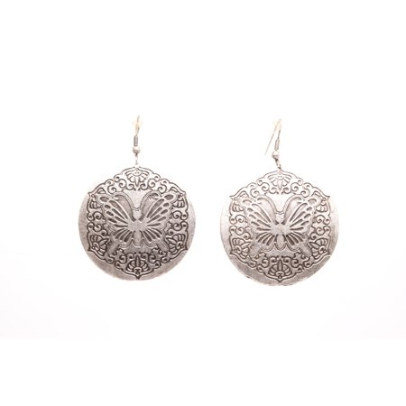 Butterfly Silver Plated Dangle Earrings with Antique -
