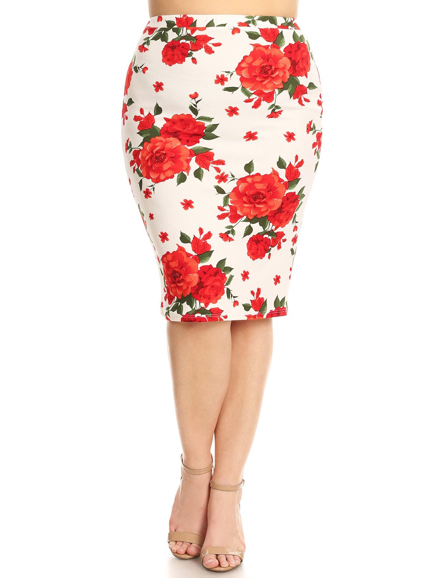 Women's Plus Size Floral Pattern Print Pencil Skirt
