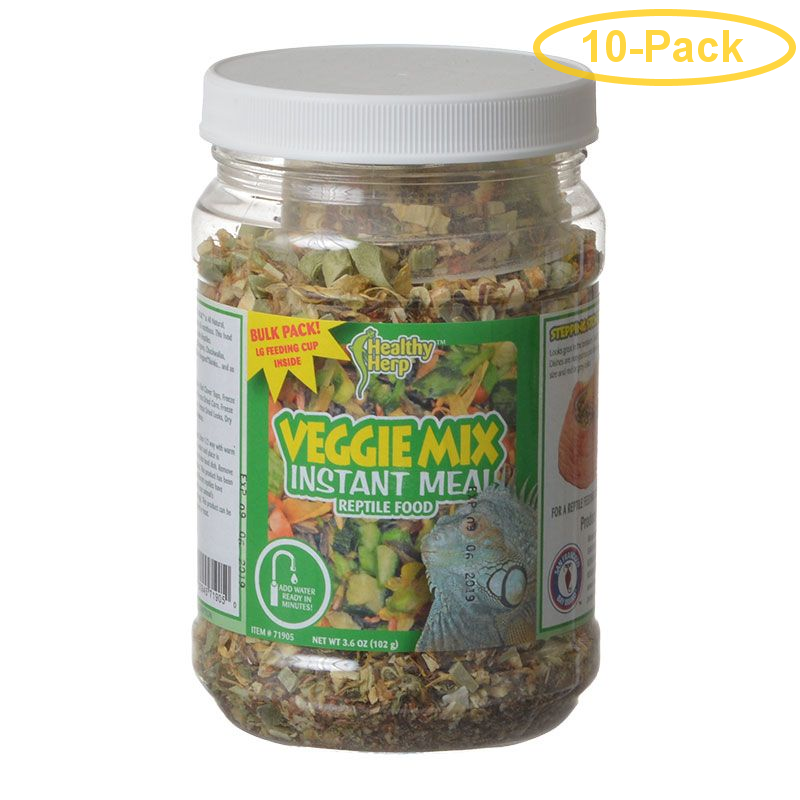 Healthy Herp Veggie Mix Instant Meal Reptile Food 3.6 oz - Pack of 10
