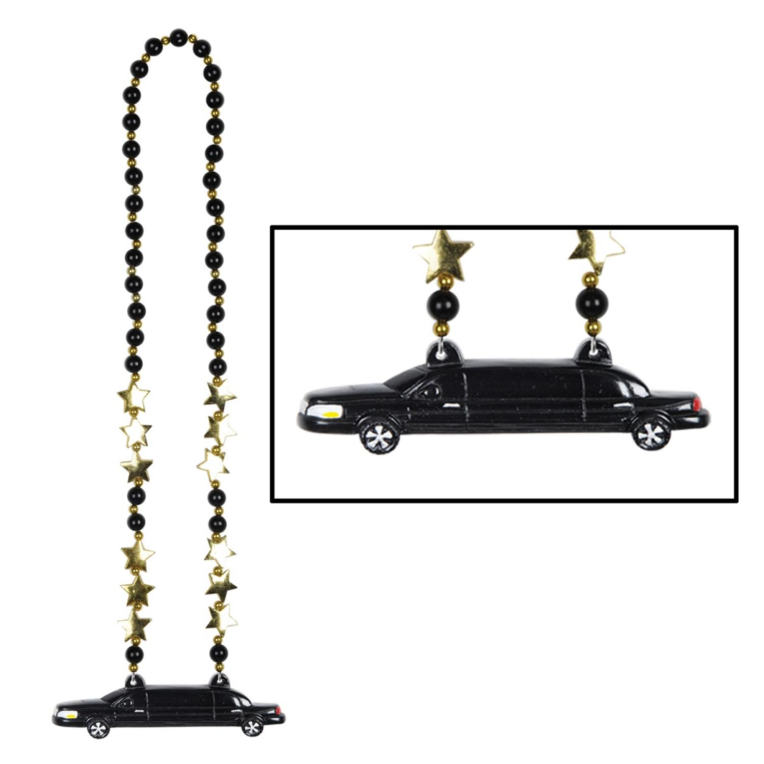 """Club Pack of 12 Metallic Black and Gold Hollywood """"Limo"""" Party Bead Necklaces 38"""""""