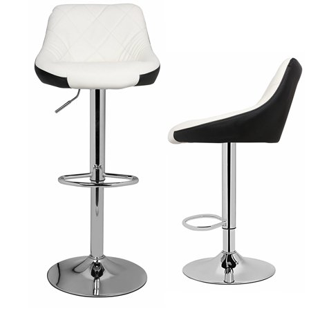 New Style Mixed Color Bar Stools Chair Dining Counter Bar Pub Set OF 2 - Faux Leather Black White