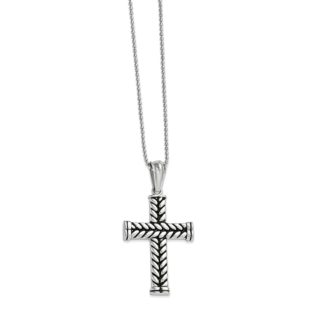 Stainless Steel Black Plated Cross Pendant 24 in. Necklace. 24in long.
