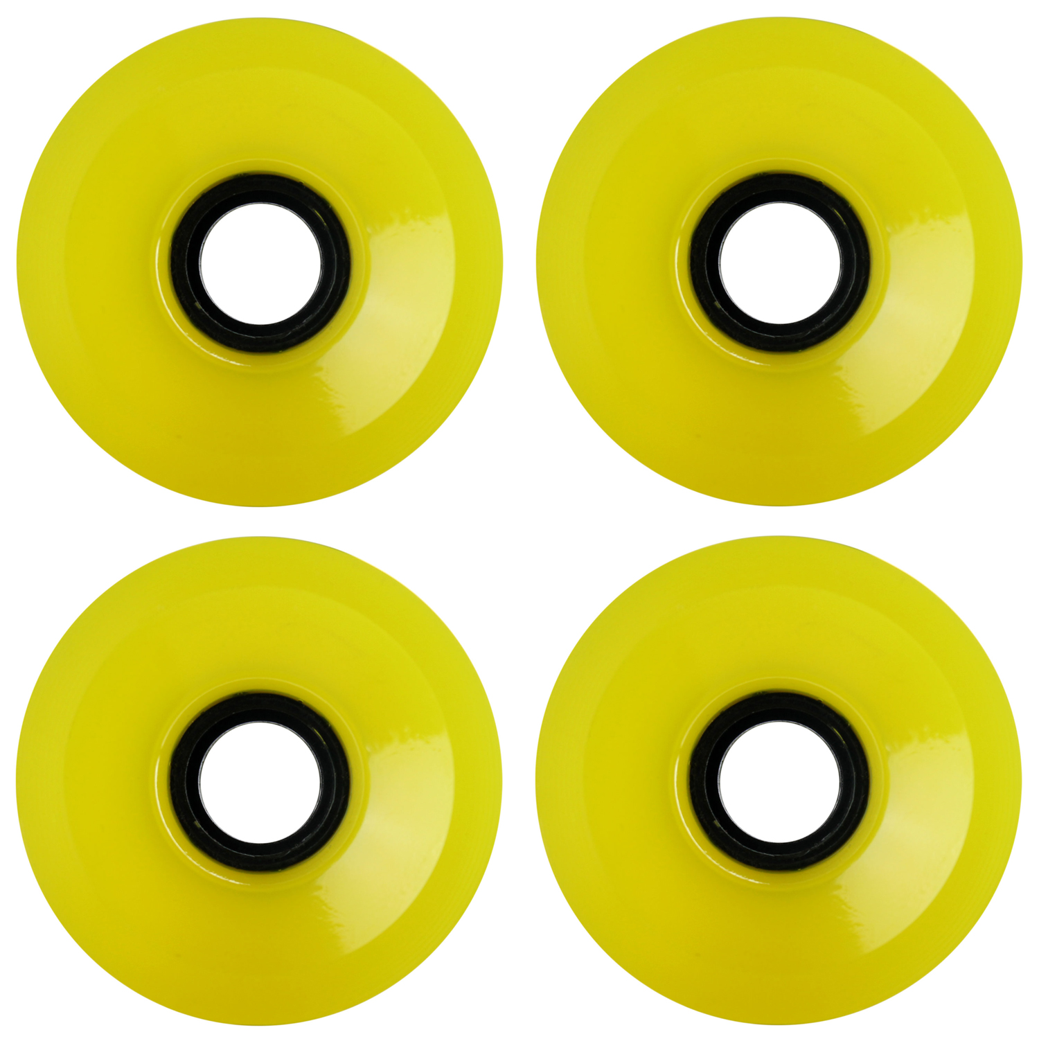 Longboard Wheels 70mm Smooth Transparent Yellow USA Made 78A
