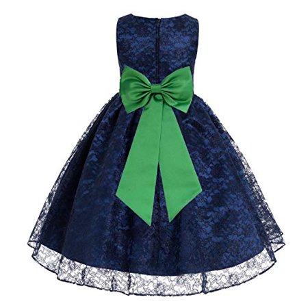 Ekidsbridal - Navy Blue Floral Lace Overlay Junior Flower Girl Dress Mini Bride 163T - Walmart.com