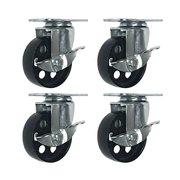 """4 All Steel Swivel Plate Caster Wheels w Brake Lock Heavy Duty High-gauge Steel (3"""" w/ brake)"""