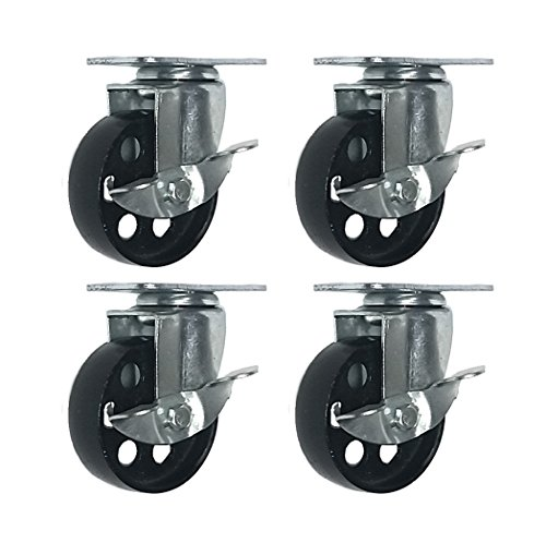 "4 All Steel Swivel Plate Caster Wheels w Brake Lock Heavy Duty High-gauge Steel (3"" w/ brake)"