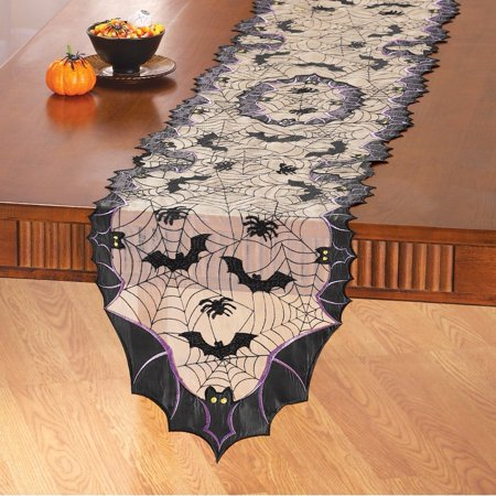 Bats and Spiders Halloween Table Linens, Runner, Spooky bats and spiders make these table toppers the perfect addition to your Halloween tables By Collections Etc