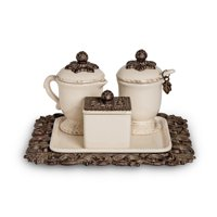 Gerson Acanthus Leaf Sugar And Creamer Set with Sweetener Box on Tea Tray (Set of 4)