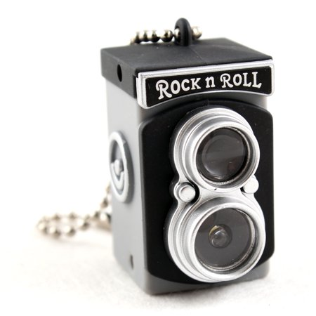 Mini Vintage Black Camera Toy Keychain Flash Torch Charm Ornament -