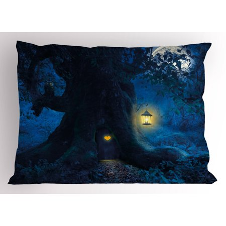 Forest Pillow Sham Magical Night with Little Home in Trunk of Ancient Tree Enchanted Forest Fairytale Theme, Decorative Standard Size Printed Pillowcase, 26 X 20 Inches, Blue, by - Enchanted Forest Theme Party