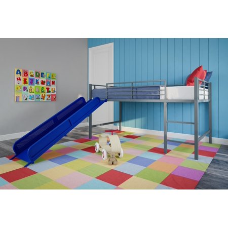 Realrooms Madison Junior Loft Bed Silver With Blue Slide Walmart Com