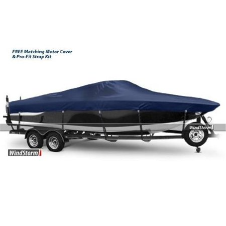 WindStorm WSAVJCC2096B Cover for Aluminum V-Jon Boat With High Center  Console Outboard Motor 20 6 in  Centerline fits up to 96 in  Beam Width
