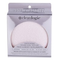 (Pack of 2) Cleanlogic Exfoliating Round Duel Texture Face & Body Scrubbers, Pink