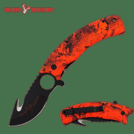 Red Deer Hunter Red Orange Tree Camo Assisted Opening Gut Hook Pocket Hunting Knife