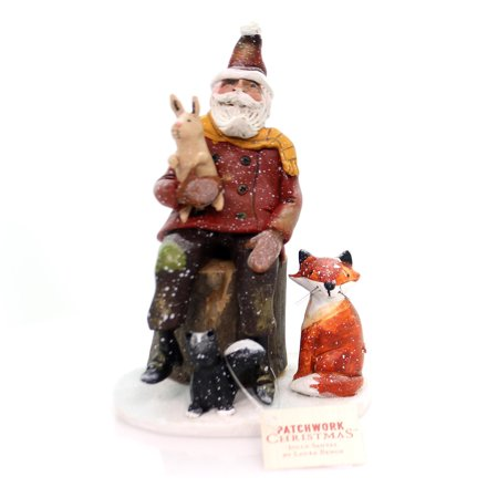 Christmas SANTA WITH WOODLAND FRIENDS Polyresin Patchwork Christmas 2020170513 ()
