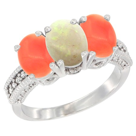 14K White Gold Natural Opal Ring with Coral 3-Stone 7x5 mm Oval Diamond Accent, sizes 5 - 10