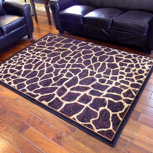 DonnieAnn Company African Adventure Giraffe Skin Print Dark Brown Area Rug