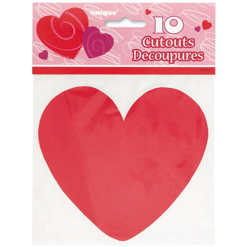 Paper Cut Out Red Heart Valentine Decorations, 10-Count