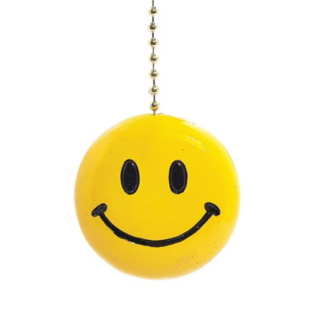 Sunny Yellow Iconic Smiley Face Decorative Ceiling Fan Light Pull 3 Dimensional](Smiley Face Lights)
