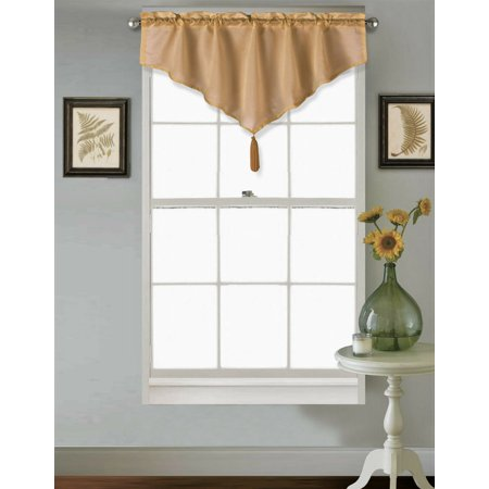 PERFECT DÉCOR FOR YOUR WINDOW VINCE GOLD SOLID COLOR SEE THRU VALANCE TASSEL ROD POCKET SEMI SHEER WINDOW TOP CURTAIN KITCHEN ,NURSERY,BATHROOM, WEDDING SIZE 40