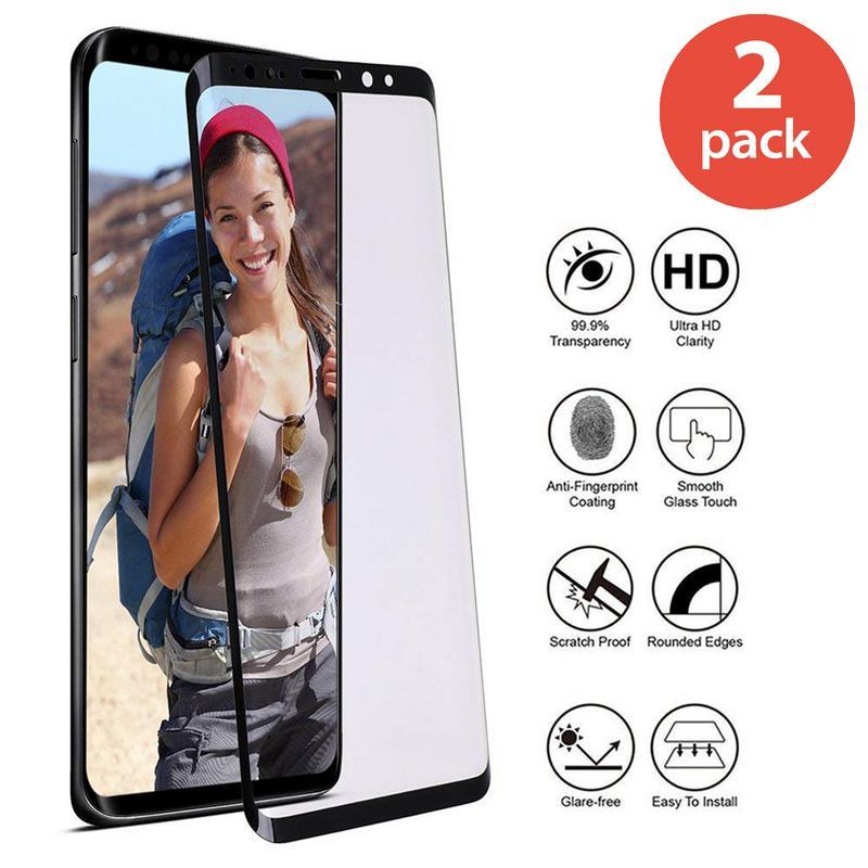 2x SAMSUNG GALAXY S9 TEMPERED GLASS SCREEN PROTECTOR FOR SAMSUNG GALAXY S9 BUBBLE FREE HD PROTECTIVE FILM BLACK