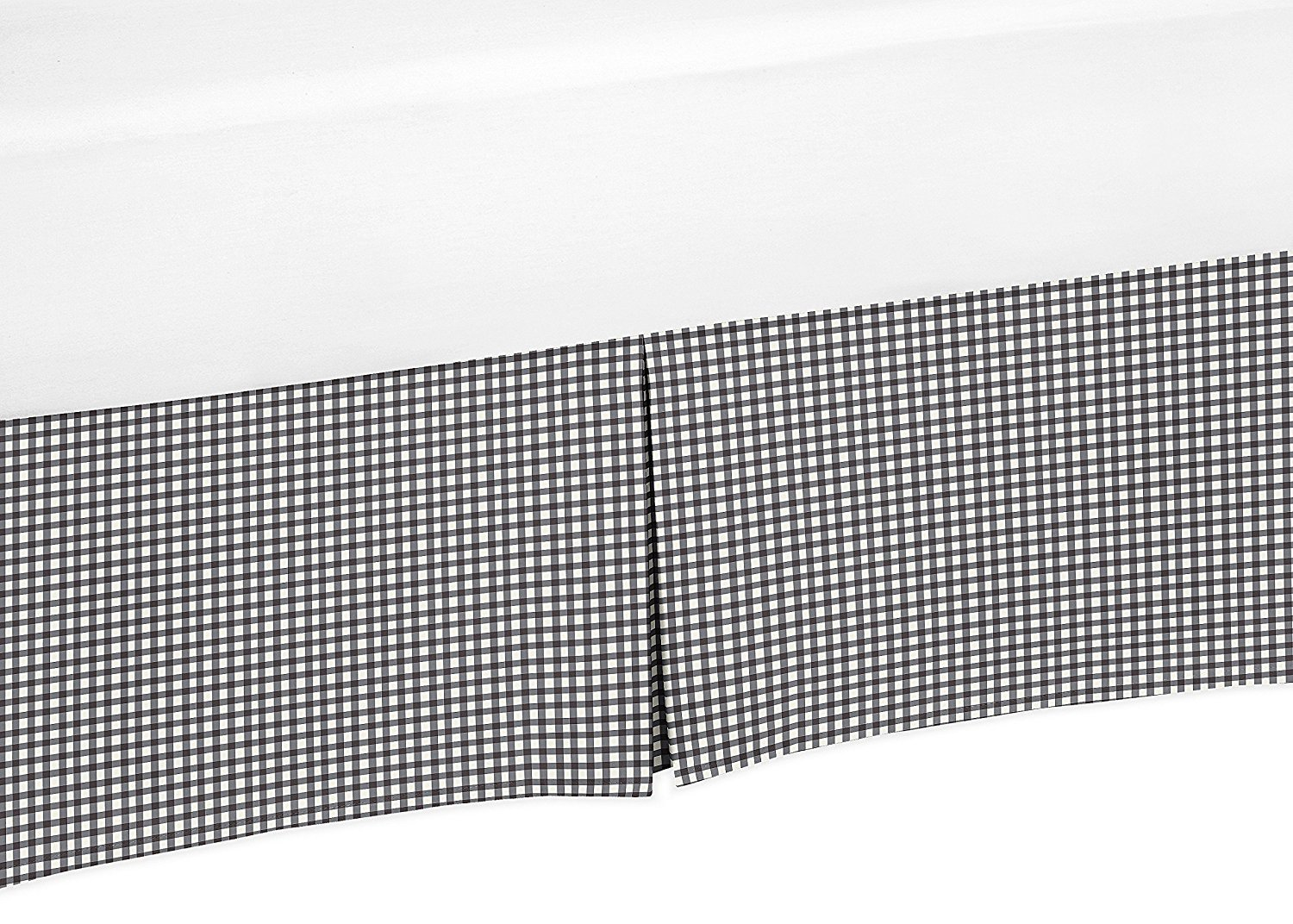 Black and White Gingham Crib Bedskirt Dust Ruffle for Girls Little Ladybug Collection Baby Bedding Sets by Sweet Jojo Designs