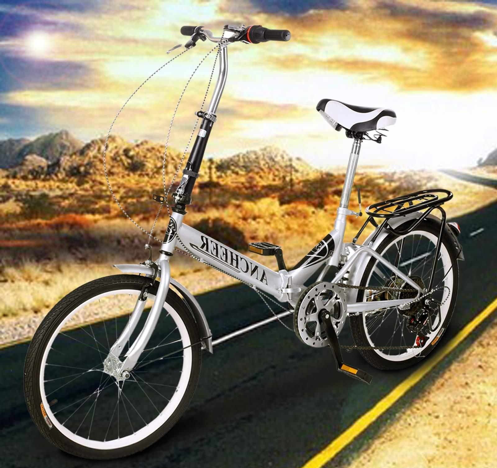 "20"" Silver Folding Bike 6 Speed Bicycle Fold Storage School Sports City Commuter SPHP"