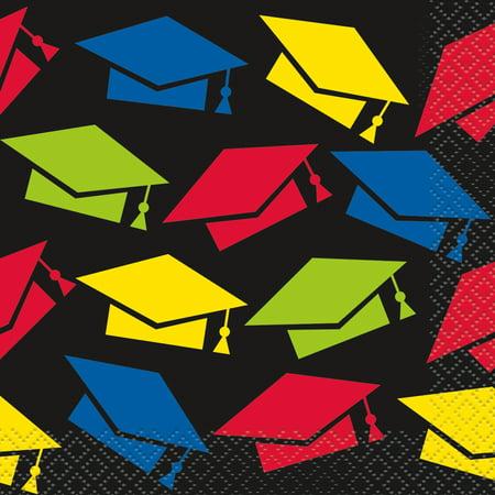 Colorful Cap Graduation Paper Beverage Napkins, 5in, 32ct - Graduation Napkins