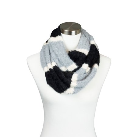 Womens Fuzzy Knitted Striped Design Soft Warm Fall Winter Infinity Loop Scarf
