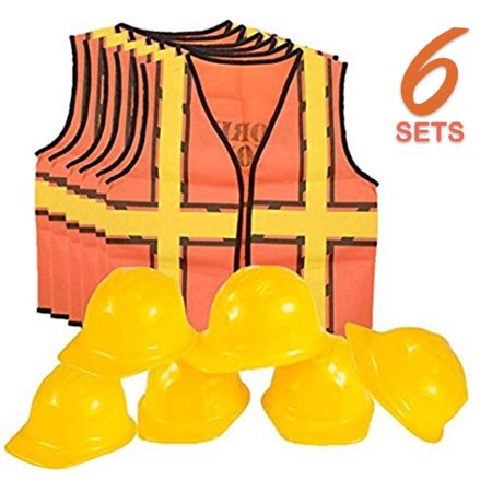 Kids Dress Up Construction Set - 6 Construction Worker Vest with 6 Construction Worker Soft Plastic Construction Helmets Hat](Construction Vest For Kids)
