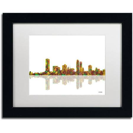 Trademark Fine Art   Milwaukee Wisconsin Skyline   Canvas Art By Marlene Watson White Matte  Black Frame